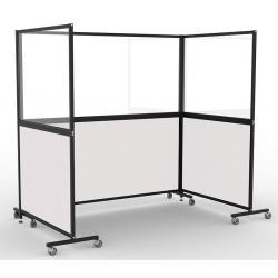 Cloison mobile acier émaillé blanc et verre sécurit H200xL105 cm