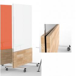 Cloison mobile bois et verre feuilleté H190xL90 cm