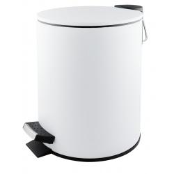 Poubelle à pédale Premium en inox blanc mat 5 L