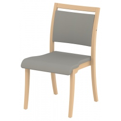 Chaise empilable Polka piétement hêtre massif tissu Trévira CS non feu M1