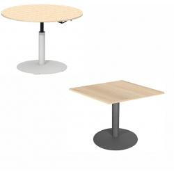Table de restauration Mano hauteur réglable plateau stratifié 24 mm chant alaisé bois 100 x 100 cm
