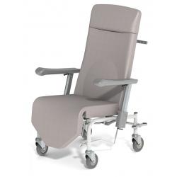 Fauteuil de transfert avec relève jambes indépendant du dossier tissu enduit roues zinguées ø 150 simple galet 2 freins