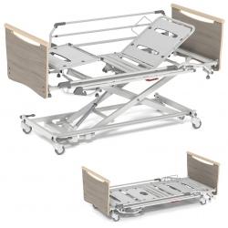 Lit électrique série 1150 bas Alzheimer à hauteur variable avec relève buste et plicature genoux fowler 4 roues avec frein ø 125