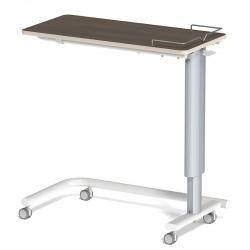 Table à manger au lit hauteur variable plateau médium stratifié 4 roulettes à frein galerie 3 côtés L90 x P42 cm