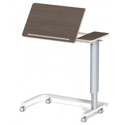 Table à manger au lit hauteur variable 2 plateaux médium stratifié 4 roulettes libres L90 x P42 cm