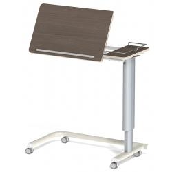 Table à manger au lit hauteur variable 2 plateaux médium stratifié 4 roulettes libres galerie 3 côtés L90 x P42 cm