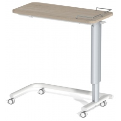 Table à manger au lit hauteur variable plateau stratifié 4 roulettes à frein galerie 3 côtés L90 x P42 cm