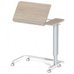 Table à manger au lit hauteur variable 2 plateaux stratifié 4 roulettes libres L90 x P42 cm