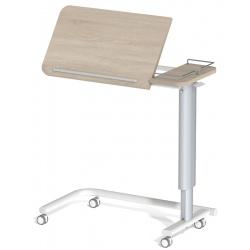 Table à manger au lit hauteur variable 2 plateaux stratifié 4 roulettes à frein galerie 3 côtés L90 x P42 cm