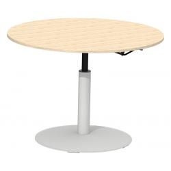 Table de restauration Mano hauteur réglable plateau stratifié 24 mm chant alaisé bois ø 130 cm
