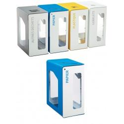Poubelle de tri sélectif Vigipirate 90L blanc papier avec serrure