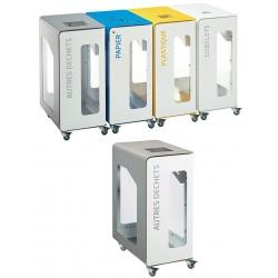 Poubelle de tri sélectif Vigipirate mobile 90L blanc tri autres déchets sans serrure