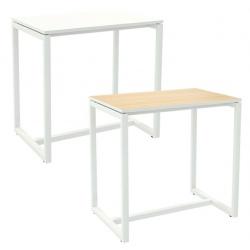 Table de réunion haute pied métal et plateau mélaminé L114 x P75 x H110 cm