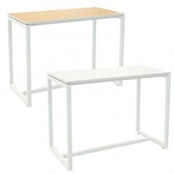Table de réunion haute pied métal et plateau mélaminé L150 x P75 x H110 cm