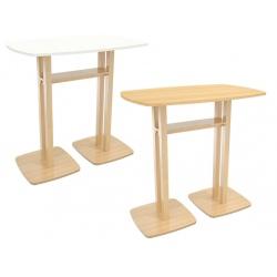 Table de réunion haute pied bois massif et plateau mélaminé L114 x P75 x H110 cm