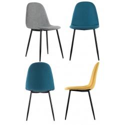 Lot de 2 chaises pieds acier et assise garnie tissu Must