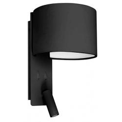 Lampe applique Fold noire avec liseuse