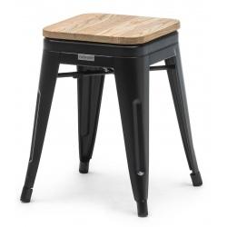 Tabouret empilable Atelier acier noir avec assise bois