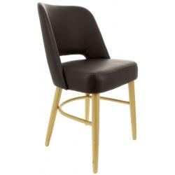 Lot de 2 chaises Colisée confort piètement hêtre assise similicuir chocolat