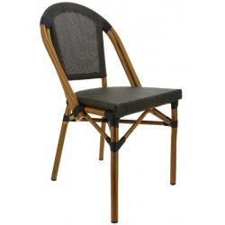 Chaise empilable aluminium et textilène Biarritz bronze clair