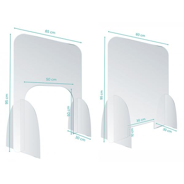 Kit 2 écrans plexi élection passe urne L65 x H95 et documents  L60 x 95 cm