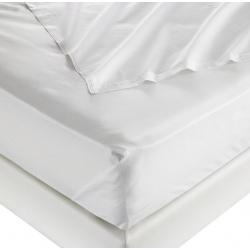 Drap plat i-care polycoton 33/67 blanc avec liserets orange 130 g 240x320 cm (le lot de 15)