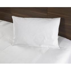 Taie d'oreiller Tradition polycoton 74/26 blanc 130 g portefeuille avec rabat et volant piqué 50x75 cm (le lot de 10)