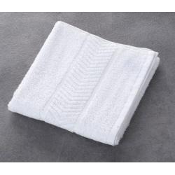 Serviette de toilette liteaux chevrons 100% coton blanc 340 g 50x90 cm (le lot de 10)