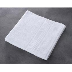 Drap de bain liteaux chevrons 100% coton blanc 340 g 70x140 cm (le lot de 5)