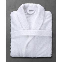 Peignoir Boucle 90% coton 10% polyester blanc 400 g col châle taille L (le lot de 10)