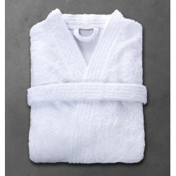 Peignoir Boucle 90% coton 10% polyester blanc 360 g col kimono taille S (le lot de 12)