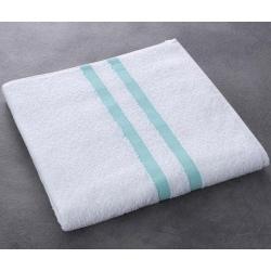 Drap de bain Luxe 100% coton blanc liteau vert 400 g 70x140 cm (le lot de 40)