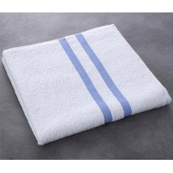Drap de bain Luxe 100% coton blanc liteau bleu 400 g 70x140 cm (le lot de 40)