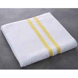 Drap de bain Luxe 100% coton blanc liteau jaune 400 g 70x140 cm (le lot de 40)