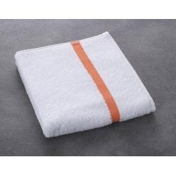 Serviette de toilette Eden 100% coton blanc liteau saumon 400 g 50x90 cm (le lot de 80)