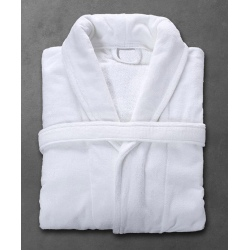 Peignoir Velours 100% coton blanc 450 g col châle taille L (le lot de 12)