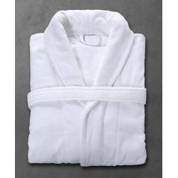 Peignoir Velours 100% coton blanc 450 g col châle taille XL (le lot de 10)