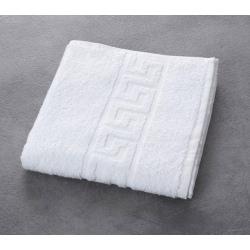 Serviette de toilette liteaux grecs 100% coton blanc 390 g 50x90 cm (le lot de 10)