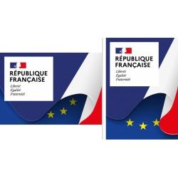 """Plaque de façade """"Liberté Egalité Fraternité"""" A2 (42 x 59,4 cm) Modèle Drapeau"""