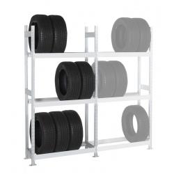 Rayonnage stockage de pneus Elt départ 3 niveaux L125 x P40 x H200 cm