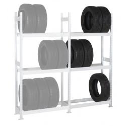 Rayonnage stockage de pneus Elt suivant 3 niveaux L100 x P40 x H200 cm