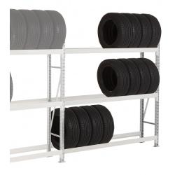 Rayonnage stockage de pneus Elt suivant 3 niveaux L180 x P40 x H200 cm