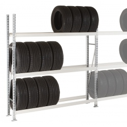 Rayonnage stockage de pneus Elt départ 3 niveaux L180 x P40 x H200 cm