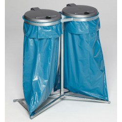 Support 2 sacs stationnaire galvanisé 120L avec couvercle plastique