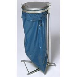 Support sac stationnaire galvanisé 120L avec couvercle plastique