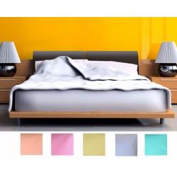 Lot de 12 draps plats polycoton couleur 280x310 cm
