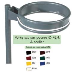 Porte sacs sur poteau ø 42,4 mm à sceller