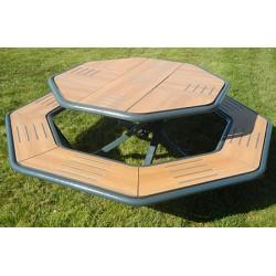 Table de pique nique octogonale gamme Saturne métal RAL 7016 et compact teck