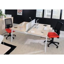 Bureau Futura poste double face suivant 160 cm cm pieds métal