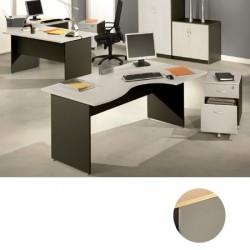 Bureaux compact Stratus L160xP80 cm retour à droite finition hêtre et aluminium